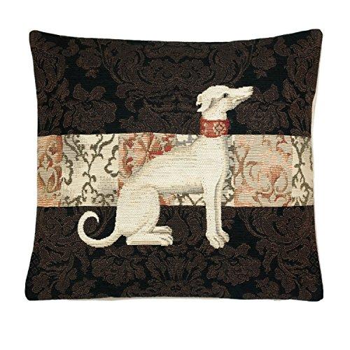 BelgianTapestries Edle Kissenhülle, Zierkissenhülle 45 X 45 Greyhound Gobelin Cushion (Greyhound Sitting) -