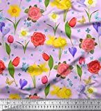 Soimoi Lila Samt Stoff Narzisse, Tulpe & Rose Blumen- Stoff