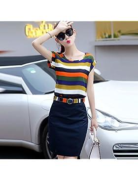 La versión coreana de los elegantes vestidos de rayas dos kits chiffon paquete y faldas,L,B
