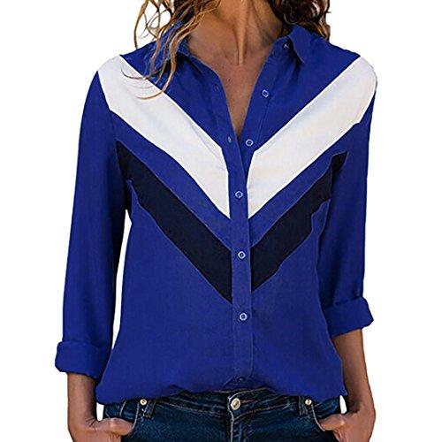 Damen Tops,TWBB Frauen Drucken Knopf Oberteile Lange Ärmel Shirts V-Ausschnitt T-Shirt Freizeit
