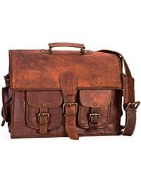 "15"" Twin Pocket Leather Messenger Bag Business Bag Briefcase Laptop Case - B06XR9QY1G"