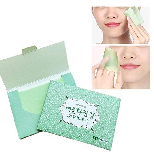 Clean Clear Salviette opacizzanti unisex per il viso con profumazione al tè verde rinfrescanti 100 pezzi/pacchetto