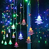 3.5M LED Curtain Lights,RUICHEN(TM) 11.5Ft*2Ft Chtistmas Tree Style Curtain Lights,8 Modes Linkable Design, LED Icicle Lights for Christmas/Wedding/Party/New Year Decorations(Multicolor)