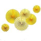 SUNBEAUTY 6er Set Papier Fächer Dekoration für Party Feier Hochzeit Geburtstag 21cm 31cm 42cm (Gelb)