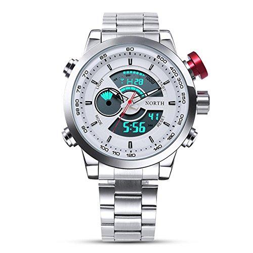 Armbanduhr Digital und Analog-Edelstahl-Armband Quarzuhr rund doppelte Anzeige männlich -