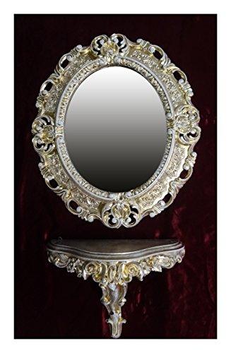 SET Gold Weiß Wandspiegel + Konsole M OVAL Wandkonsole Barock Antik 44x38 Flur Eingangsmöbel Möbel Konsole Ablage Spiegel Wandregal
