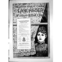 La Stampa Antica della Spugna del Panno dei Ciechi di Finestra di Lancaster Non Pulisce Pieghe 1887