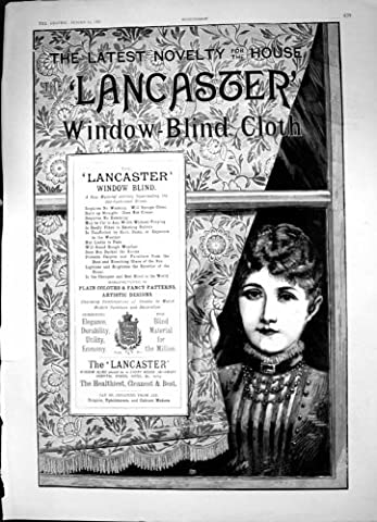 Old Original Antique Victorian Print Lancaster Window Blind Cloth Sponge Clean No Creases 1887 733J685