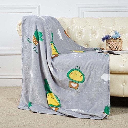 Coral-stoff-farbstoff (Coral-Fleece-Decke Wohndecke Kuscheldecke Kinder Babydeceke Junge Decke Kinderdecke 100x135cm Grau Sofadeke mit grüneKaktus)