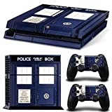 : Stillshine Protective Skin Decal Sticker Protector Skin For Sony PlayStation 4PS4Console + 2Pcs Controller blue Police Box