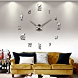 UNIQUEBELLA Wanduhr Riesige Spiegel Wanduhr Vinyl DIY Ø 130cm Große XXL Design Uhr