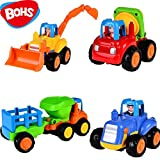 4pcs Push and Go Friction Powered Car Toys,Tractor, Bull Dozer truck, Cement Mixer, Dump truck Children Toy