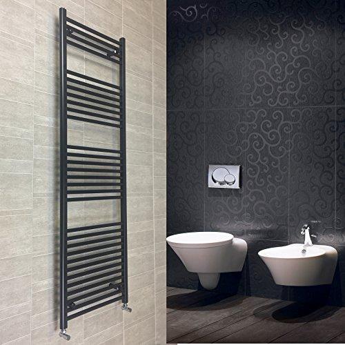 500mm larghezza nero Scaldasalviette radiatore piatto scaletta per elegante bagno, metallo, Black, 500 x 1800 mm