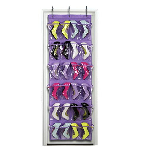 Hängeorganizer Wand Hängenden COLORFUL 24-Pocket Over The Door Schuh Veranstalter Aufbewahrungstasche (Lila) - 24 Pocket-schuh