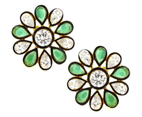 the-jewelbox-7-stone-flower-kundan-polki-american-diamond-emerald-green-gold-plated-stud-earring-for