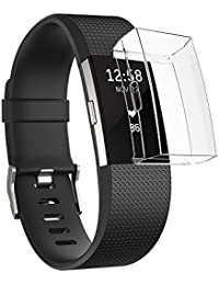Sun studio Protectora Carcasa para Fitbit Charge 2, TPU Accesorio Funda Protector de Pantalla Shell para Fitbit Charge 2 Unisex Fitness Smartwatch (Transparente)
