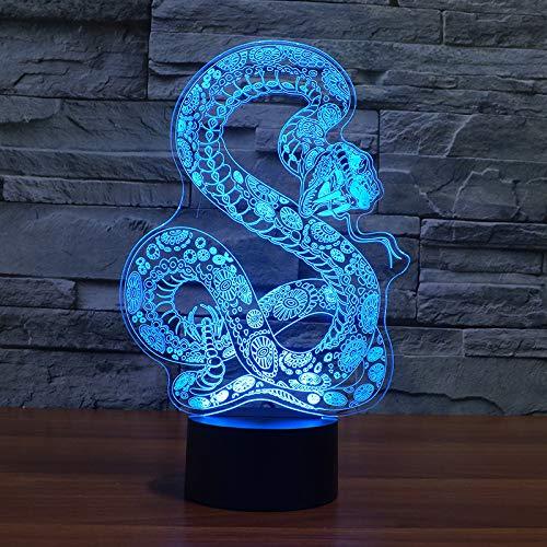 Kjfgkf @ 3D Nachtlicht 3D Led Schlafzimmer Tischlampe7 FarbwechslerVision Strumpf Schlange Modellierung Nachtlicht Usb Baby Schlaf Beleuchtung Wohnkultur - Gitarre Strumpf