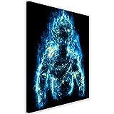 Feeby. Wandbild - 1 Teilig - 50x70 cm, Leinwand Bild Leinwandbilder Bilder Wandbilder Kunstdruck, Barrett Biggers - Anime Blau