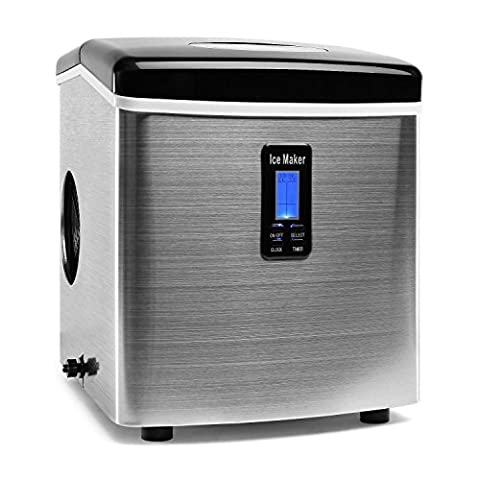 Klarstein Mr. Black-Frost Eiswürfelmaschine (3,3 Liter Wassertank, 15 kg / Tag, 3 Größen, LCD-Display) silber-schwarz