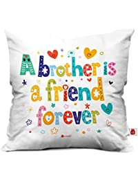 """Indigifts Bro Is A Friend Forever Quote Printed Cushion Cover 12""""X12"""" With Filler, Crystal Rakhi , Roli, Greeting Card For Men/Boys"""