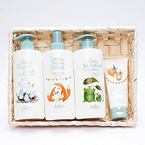 Aldem Canastilla de Bebé/Cesta Aseo Baño Bebé regalo (Jabón Líquido 400 ml + Colonia Baja en Alcohol+ Leche Hidratante…