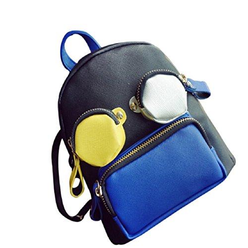 BZLine® Nette Frauen-Beutel-Schule-Karikatur-Rucksack Travel Tasche Mini-Patchwork-Beutel, 20cm*20cm*15cm Blau