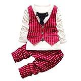 Lylita 3pcs Neonato bambino bambini Plaid Top stampa + pantaloni + cappotto abiti set (6 M, Rosso)