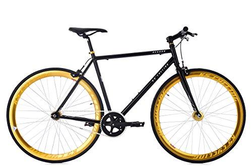 KS Cycling Fixie Pegado RH 53 cm Fahrrad, schwarz/Gold, 28 Zoll