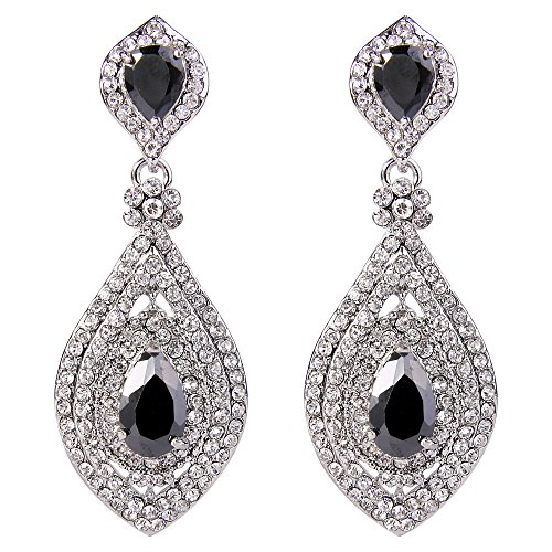 EVER FAITH Women\'s Crystal CZ Elegant Leaf Teardrop Pierced Dangle Earrings Black Silver-Tone