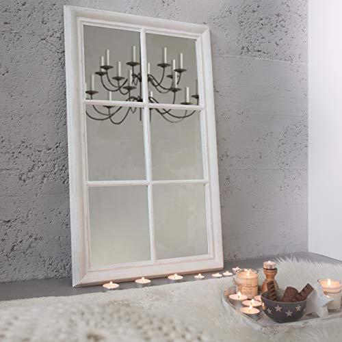 cagü: ROMANTISCHER WANDSPIEGEL SPIEGEL [PORTA] WEISS VINTAGE-USED-LOOK aus HOLZ 105cm x 65cm | Nur vertikal aufhängbar | Auch als Standspiegel an der Wand anlehnend nutzbar
