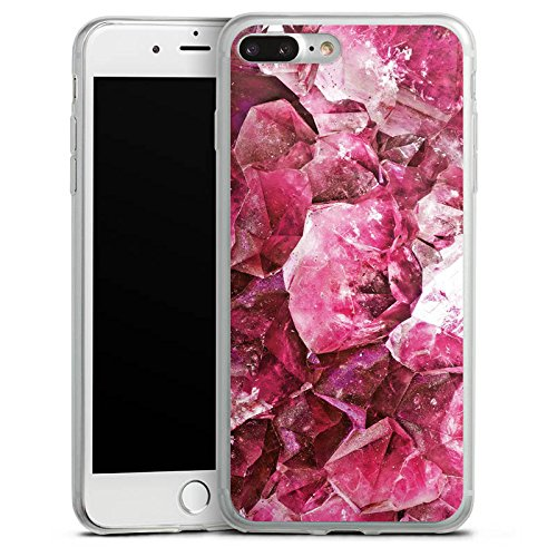 Apple iPhone 8 Plus Slim Case Silikon Hülle Schutzhülle Kristall pink Muster Edel Silikon Slim Case transparent