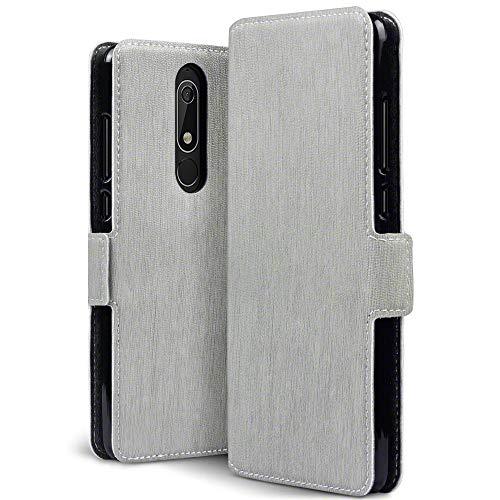 TERRAPIN, Kompatibel mit Nokia 5.1 Hülle, Leder Tasche Case Hülle im Bookstyle mit Standfunktion Kartenfächer - Grau