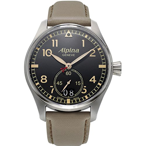 ALPINA MEN'S STARTIMER PILOT 44MM BEIGE LEATHER BAND QUARTZ WATCH AL-280BGR4S6
