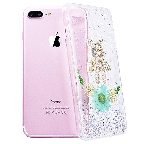 WE LOVE CASE iPhone 7 Plus Cover Fiore Vero e Orso Trasparente Glitter iPhone 7 Plus 5,5 Custodia Verde Case Silicone Soft Flessibile Elegant Belle Protettiva , Antiurto Ultraslim Bumper , TPU Gel Go green