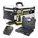 Stanley FatMax–fmck625d2F-qw Kit?: Perceuse Visseuse à percussion 18V fmc625+ Set d'accessoires 50pièces (2batteries + chargeur + Boitier en aluminium)
