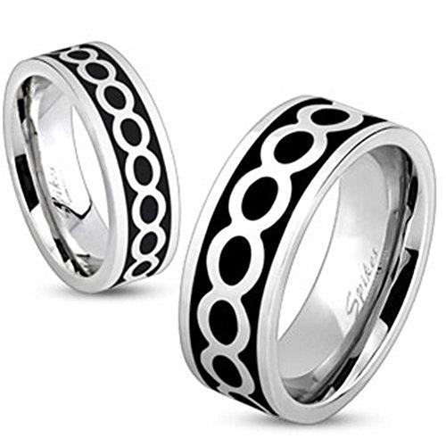 Paula & Fritz® Ring aus Edelstahl Chirurgenstahl 316L schwarzes Band mit Abdruck Ewigkeitsperlen verfügbare Ringgrößen 47 (15) – 69 (22) R-M1010
