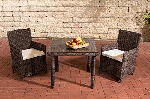 Gartenmöbel, Gartenmöbel-Set, Sitzgruppe Dorado K100, braun-meliert / creme-weiß, Polyrattan-Aluminium-Gestell, Gartengarnitur, Sitzgarnitur.