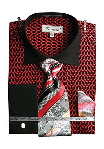 Men's Tone-On-Tone French Cuff Shirt Cufflinks Red