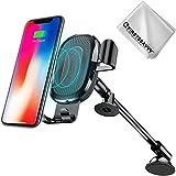First2savvv Chargeur sans fil rapide voiture, Qi Support Téléphone Voiture Chargeur auto sans fil à Induction Rapide pour iPhone X / 8 / 8 Plus, Samsung Galaxy S9 / S9+ / S7/ S7 Edge/ S6 Edge/ S8 / S8 Plus/ Note 5, etc CAR-ZJ-WXC-A01