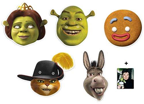 Partei Gesichtsmasken (Maske) Packung von 5 ( Enthält Shrek, Fiona, Gingy, Donkey und Puss in Boots) Enthält 6X4 (15X10Cm) starfoto (Gingy Kostüm)