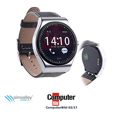 simvalley MOBILE Smart Watch iOS: Smartwatch mit Bluetooth 4.0, Metallgehäuse, Herzfrequenz, Nachrichten (Android-Smartwatch)
