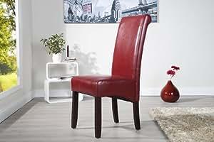 Chaise élégante de style colonial vALENTINO bordeaux rouge foncé avec jambes housse de traversin