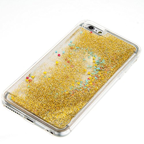 For iPhone 6 PLUS 5.5[CUTE SPARKLING]Novelty Creative Liquid Glitter Design Liquid Quicksand Bling Adorable Flowing Floating Moving Shine Glitter Case -GOLD EIFFEL GOLD