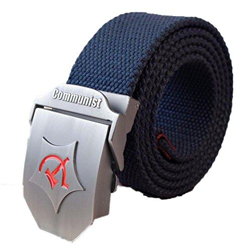 SaySure - Metal Buckle Waist Strap Stripe Belts for man