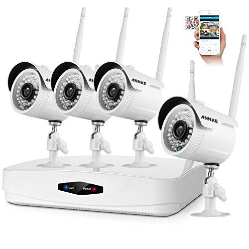 ANNKE CCTV 4CH 1080P HD Wireless NVR System Funk Überwachungsset Ohne Festplatte mit 4 X 2.0MP 1080P WLAN Outdoor Netzwerk Außen IP Überwachungskamera, 30M IR Nachtsicht