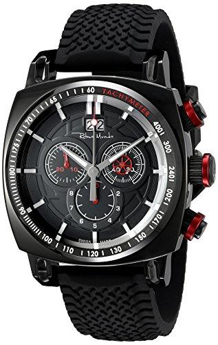 Ritmo Mundo Men's 2221/6 Black Red Racer Analog Display Swiss Quartz Black Watch