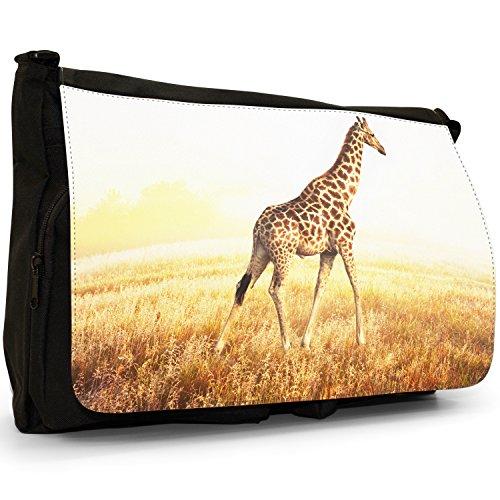 African giraffa–Borsa Tracolla Tela Nera Grande Scuola/Borsa Per Laptop Giraffe Walking Comprar Genuina Barata El Envío Libre Bajo Precio De Envío De Pago Compras Fresco US4AmmAA1