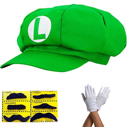 Super Mario Mütze GRÜN LUIGI Komplett SET mit Handschuhe und Klebe-Bärte für Erwachsene und Kinder Karneval Fasching Verkleidung Kostüm Mützen Hut Cap Herren Damen (Erwachsene Kostüm Luigi Für)