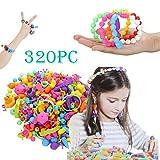 mxjeeio 150/320/500pcs Pop Perlen Schmuck Machen Kit 4-10Jahre alte Mädchen Halskette Armband Ringe Kreativität