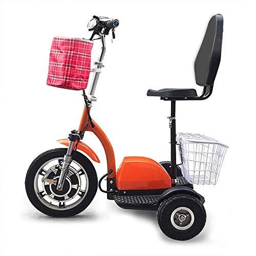 Dpliu-HW Bicicleta Eléctrica Scooter eléctrico de Tres Ruedas Old Age Pequeño Mini Plegable Vehículo recreativo for discapacitados con Respaldo Cesta...